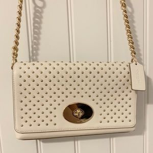 COACH Off white cross body bag with gold hardware